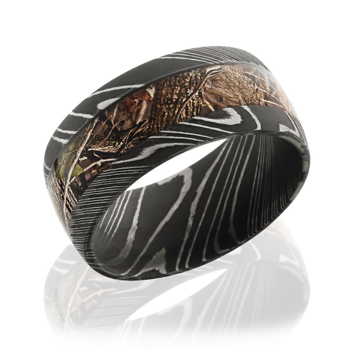 Unique Damascus Steel And Camo Wedding Band, 10mm Wide Within Men's Damascus Wedding Bands (View 15 of 15)