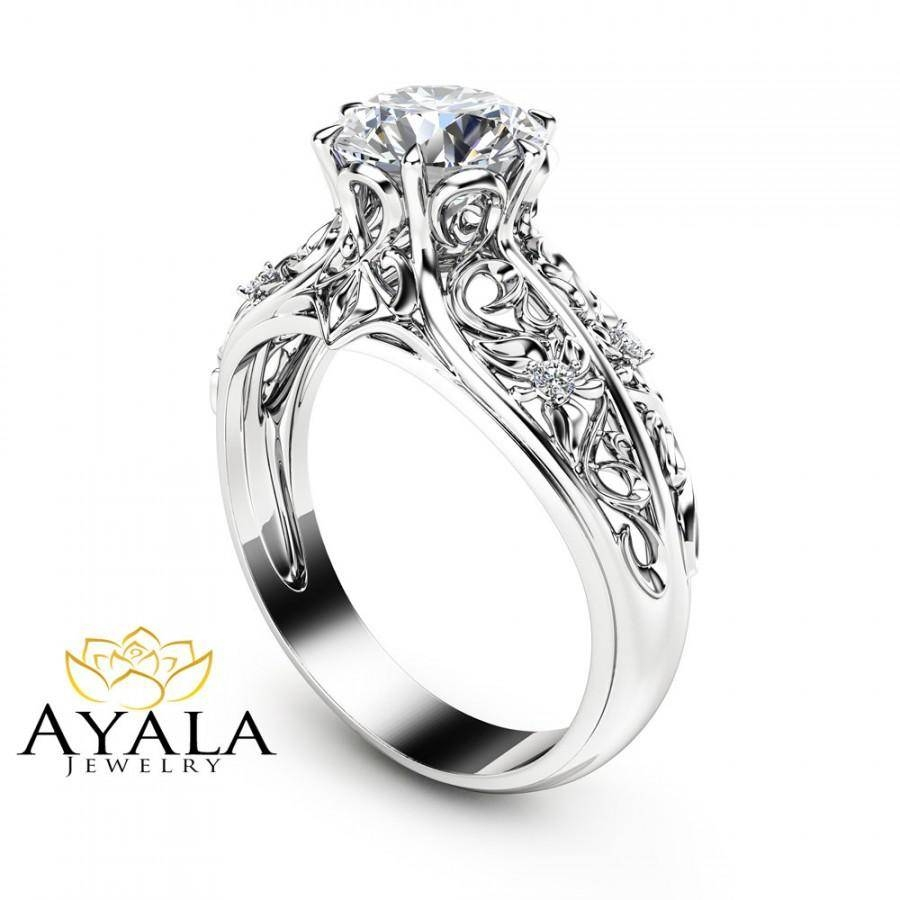 Unique Engagement Ring 14K White Gold Diamond Ring Filigree Design Regarding Designing An Engagement Rings (Gallery 7 of 15)