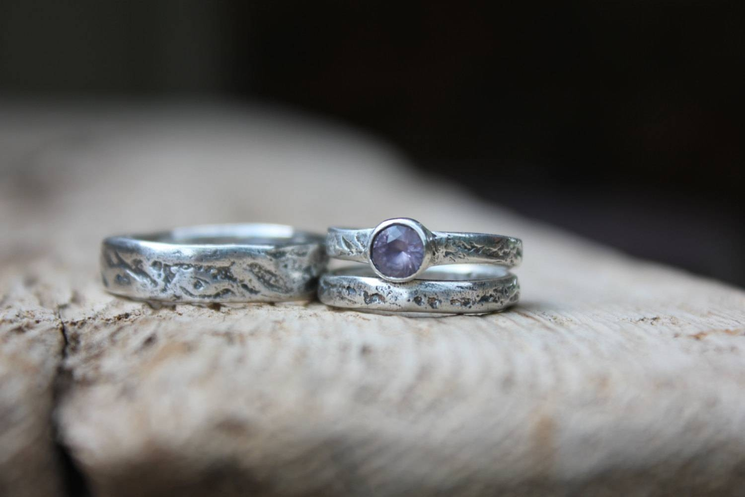 Unique Engagement Ring Wedding Bands Set . Purple Spinel Inside Unique Wedding Rings Sets (Gallery 1 of 15)