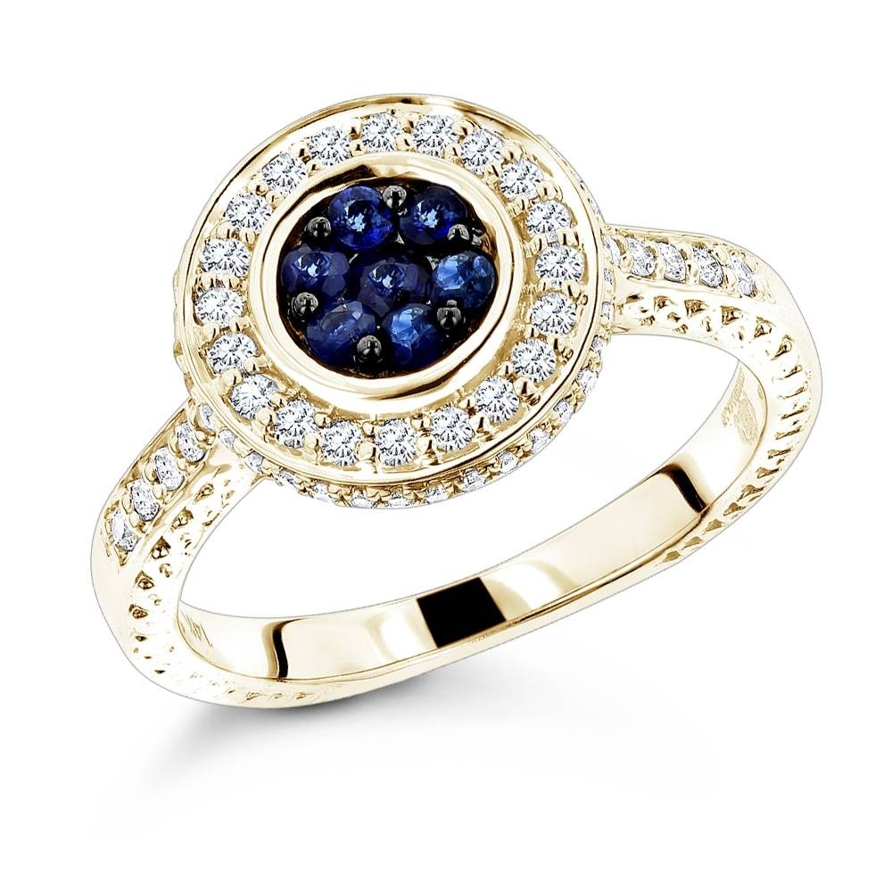 Unique Ladies Diamond Rings: 14K Gold Blue Sapphire Engagement Pertaining To Engagement Rings For Ladies (View 14 of 15)