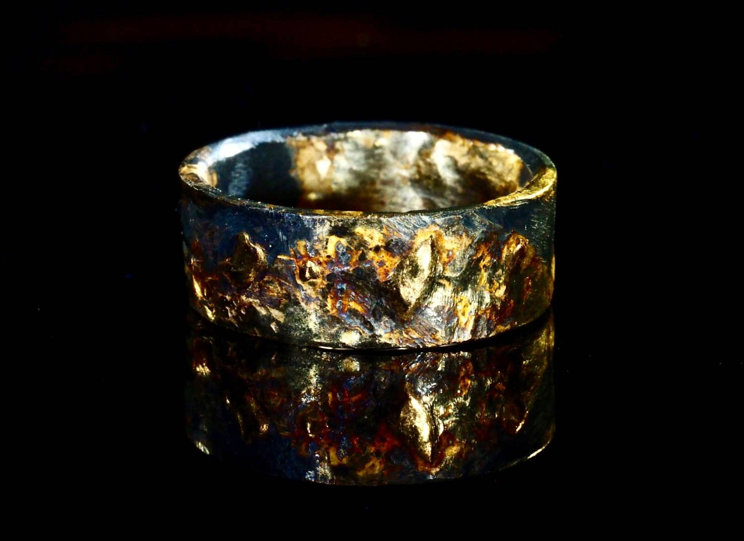 Unique Mens Wedding Band Gold Silver Mens Gold Wedding Ring Within Viking Wedding Bands (View 8 of 15)
