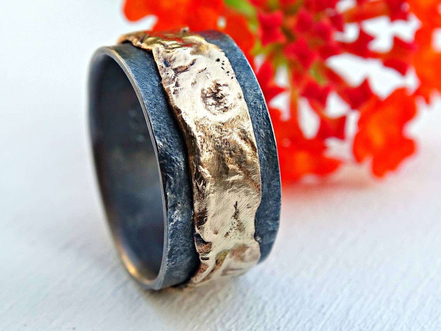 Unique Mens Wedding Band Gold Silver Mens Ring Gold Wedding For Viking Engagement Rings (Gallery 15 of 15)