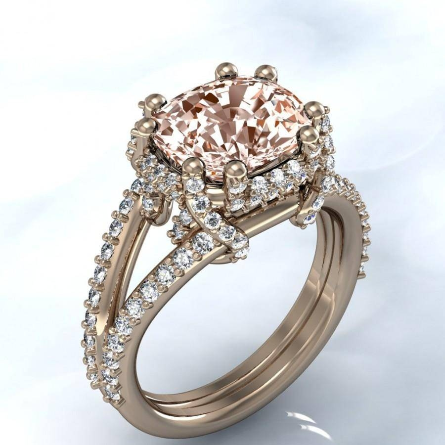 Unique Rose Gold Cushion Morganite And Diamond Halo Engagement Within White Gold And Yellow Gold Wedding Rings (Gallery 4 of 15)