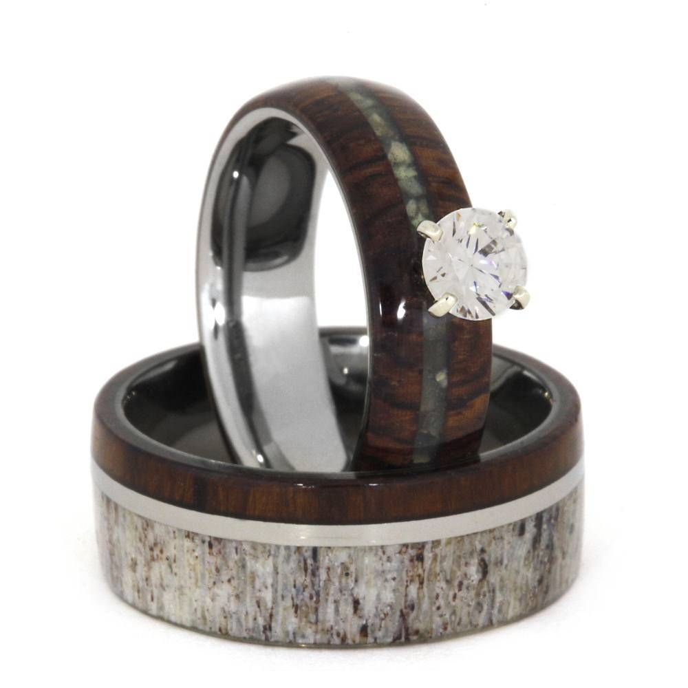 Unique Wedding Ring Set, Antler Wedding Band Wood Engagement Ring Pertaining To Unique Wedding Rings Sets (View 9 of 15)
