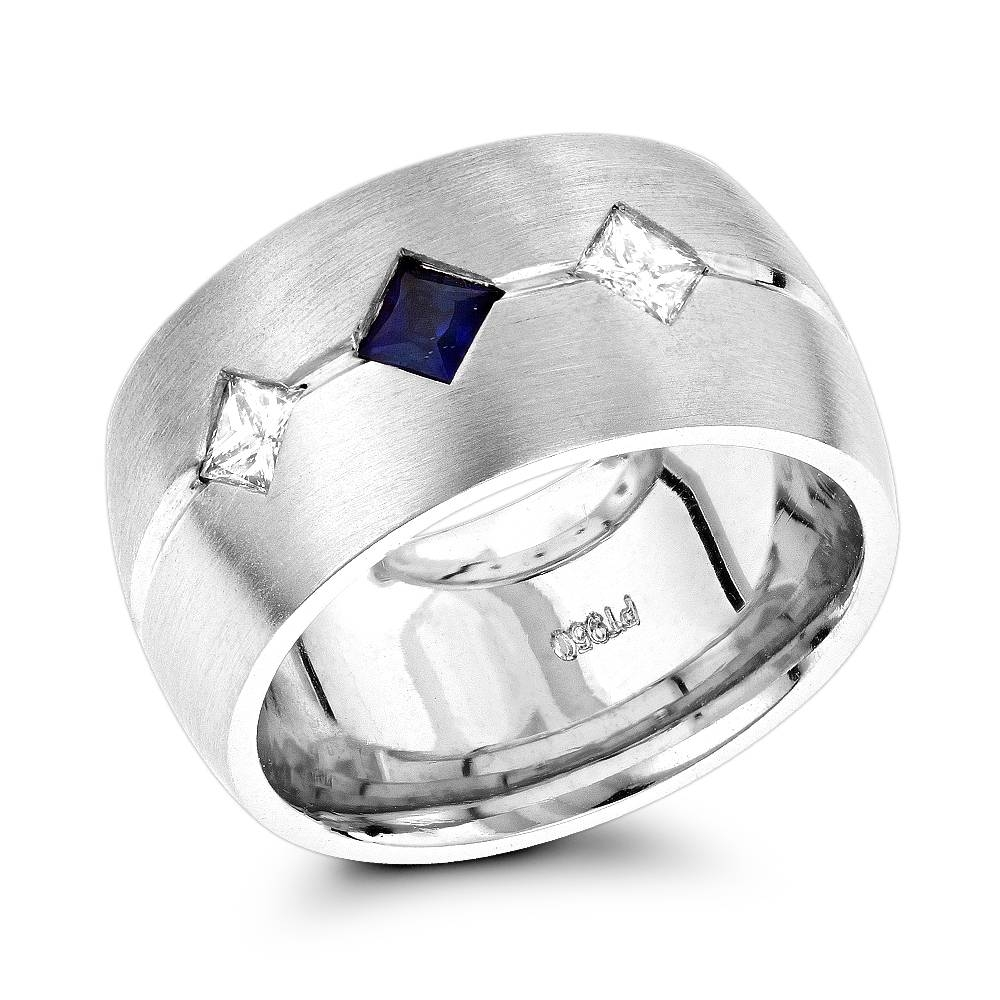Unique Wedding Rings: Platinum Diamond Sapphire Wedding Band For Women With Sapphire Wedding Rings For Women (Gallery 5 of 15)