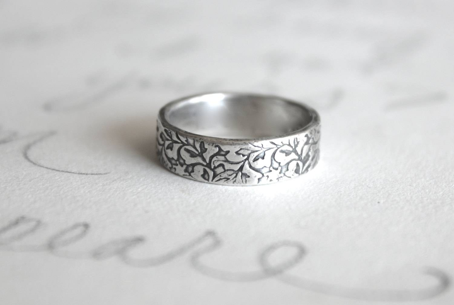 Unisex Wedding Band Ring . Engraved Recycled Silver Ring  (View 12 of 15)