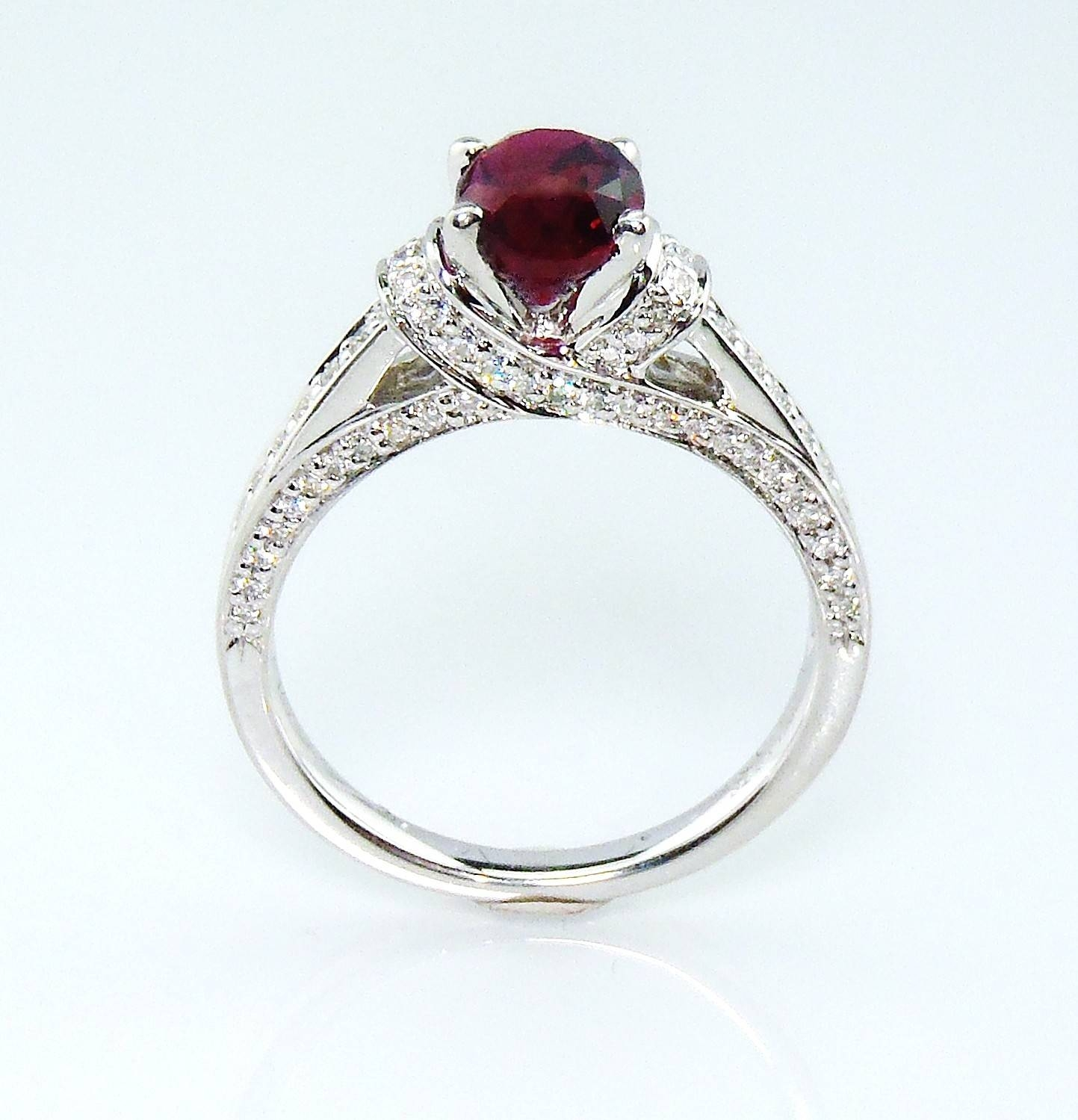 Untreated Vivid Ruby Engagement Ring, Gia Certified 14 Kt White For Ruby Engagement Rings White Gold (View 7 of 15)