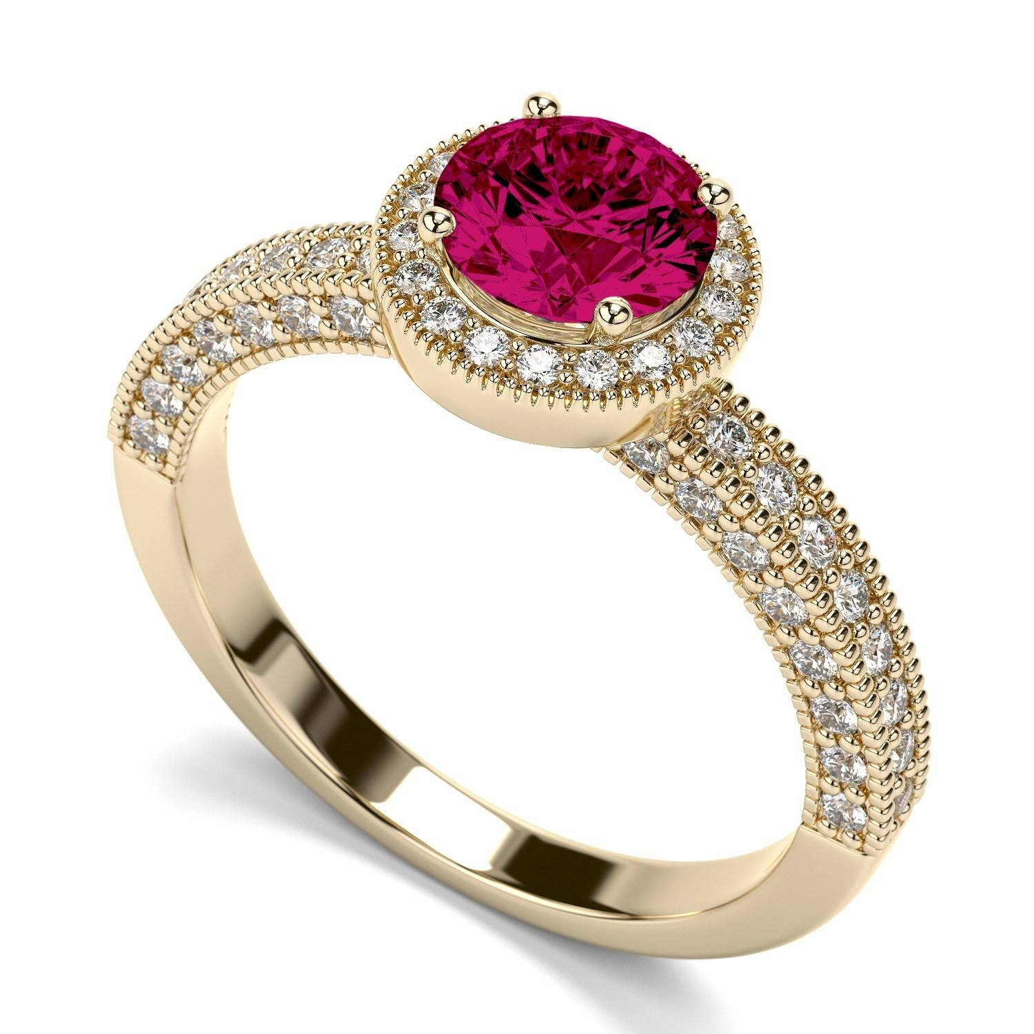 Victorian Vintage Round 1.50 Carat Ruby And Diamond Engagement Intended For Ruby Engagement Rings Yellow Gold (Gallery 11 of 15)