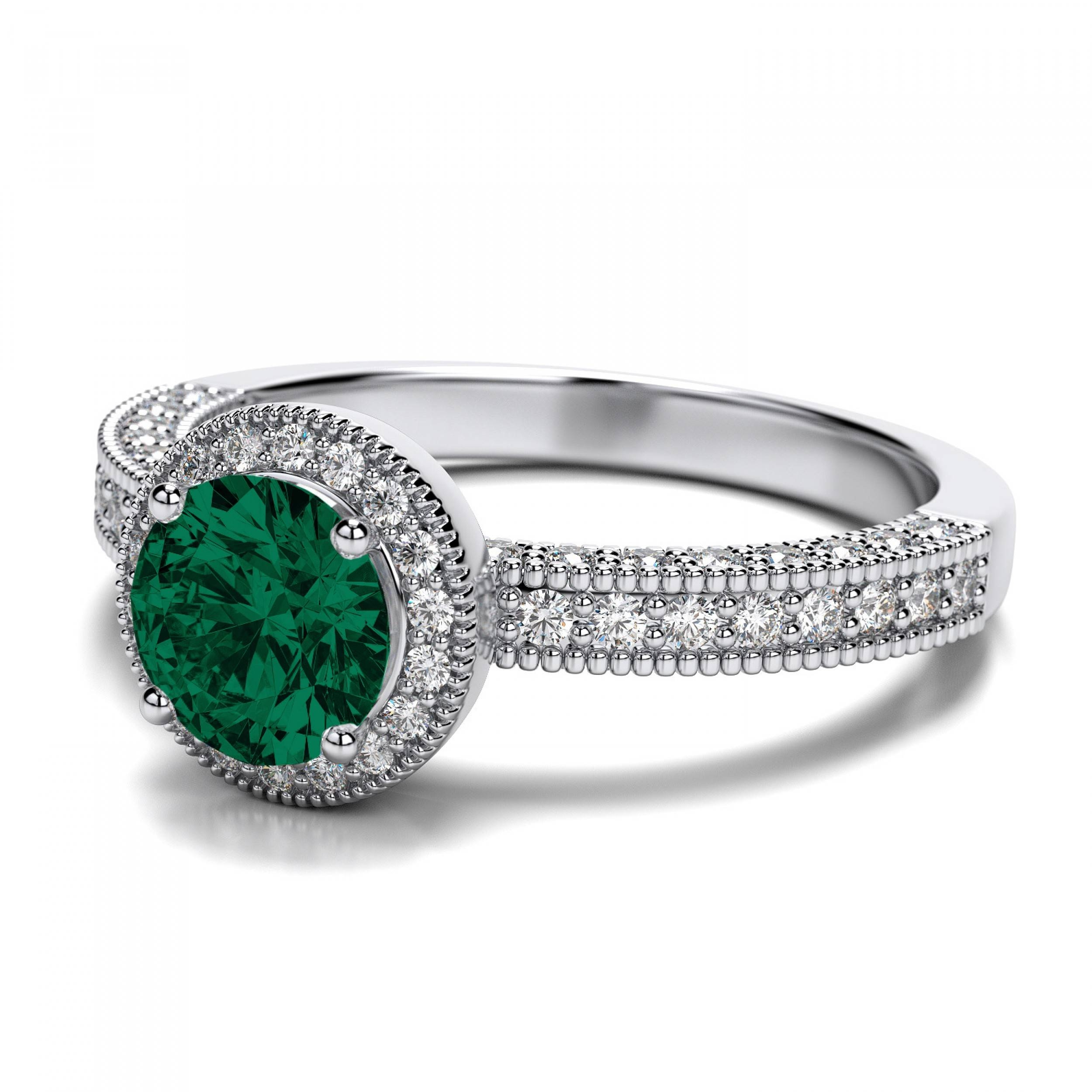 Victorian Vintage Round Emerald Engagement Ring In 14k White Gold Intended For Emerald Engagement Rings White Gold (View 7 of 15)