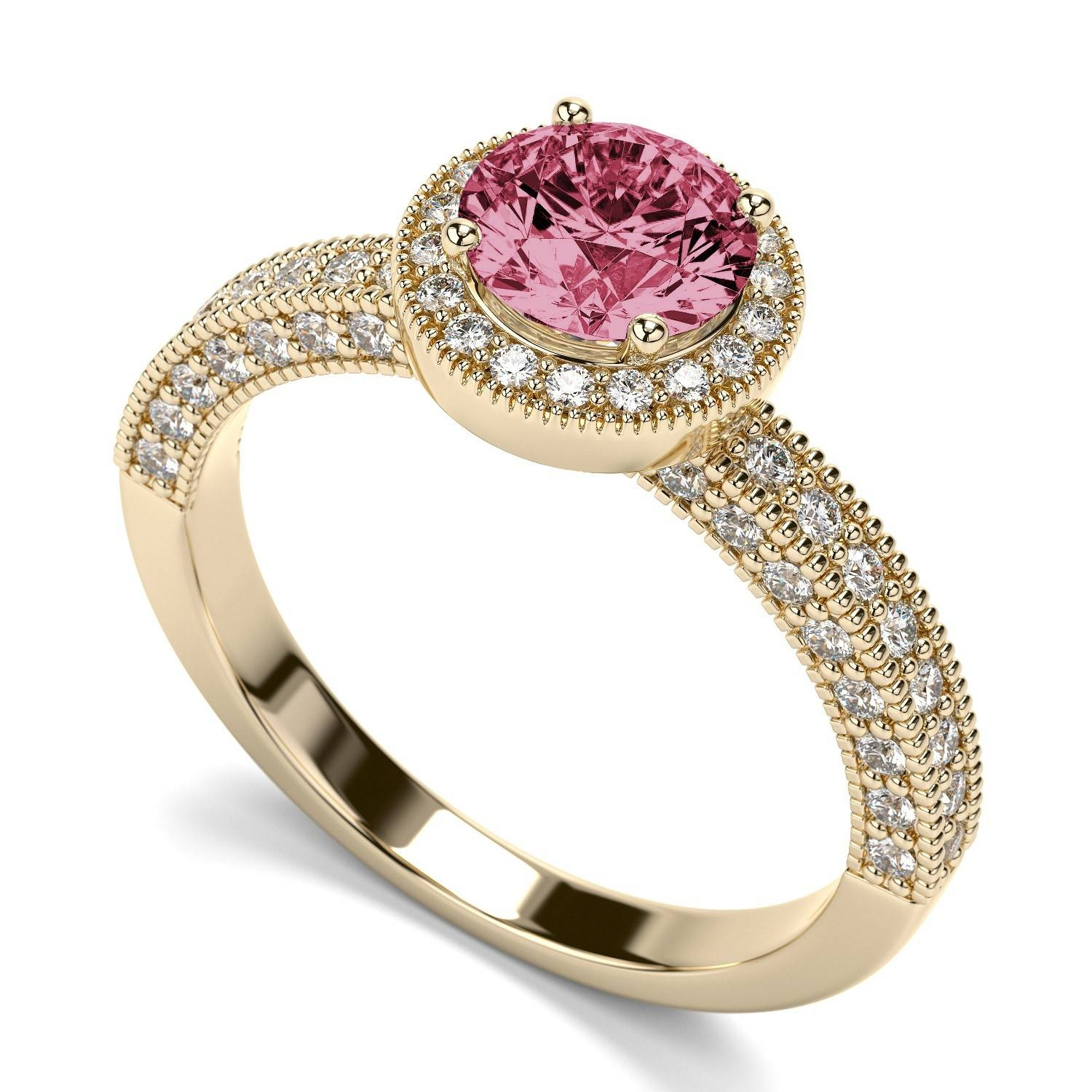 Victorian Vintage Round Pink Sapphire Engagement Ring In 14K Inside Pink Sapphire Engagement Rings (Gallery 2 of 15)