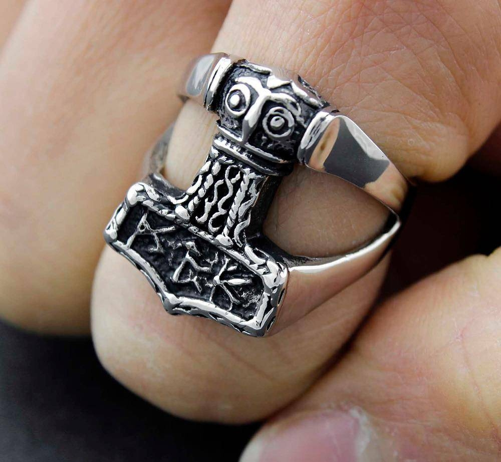 Viking Corss Thor Hammer Mjolnir Ring Mens Biker Stainless Steel In Viking Engagement Rings (Gallery 12 of 15)