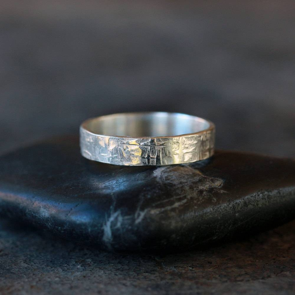 Viking Ring Sterling Silver Men's Wedding Band Hammered Inside Viking Wedding Bands (View 4 of 15)