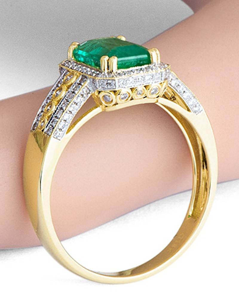 Vintage 1.50 Carat Emerald And Diamond Engagement Ring For Women For Emerald Wedding Rings For Women (Gallery 6 of 15)