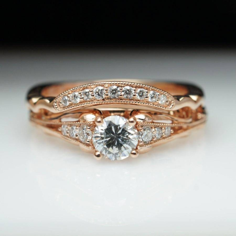 Vintage Antique Style Diamond Engagement Ring & Matching Wedding Within Gold Engagement Rings And Wedding Bands (View 9 of 15)