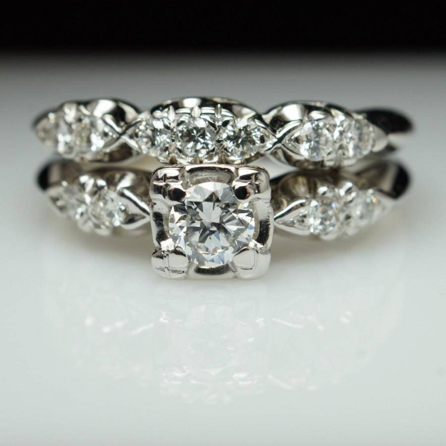 Vintage Art Deco Diamond Bridal Set Engagement Ring & Matching Regarding Matching Wedding And Engagement Ring Sets (Gallery 13 of 15)