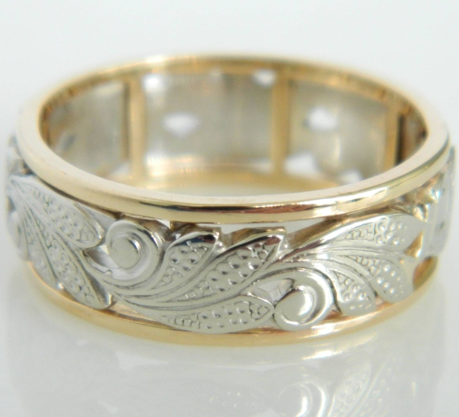 Vintage Artcarved 14K White & Yellow Gold Wedding Band Pertaining To Art Carved Wedding Bands (View 15 of 15)