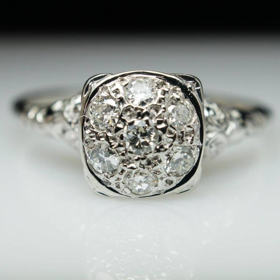 Vintage Cluster Engagement Rings | Wedding, Promise, Diamond With Diamond Cluster Wedding Rings (View 14 of 15)