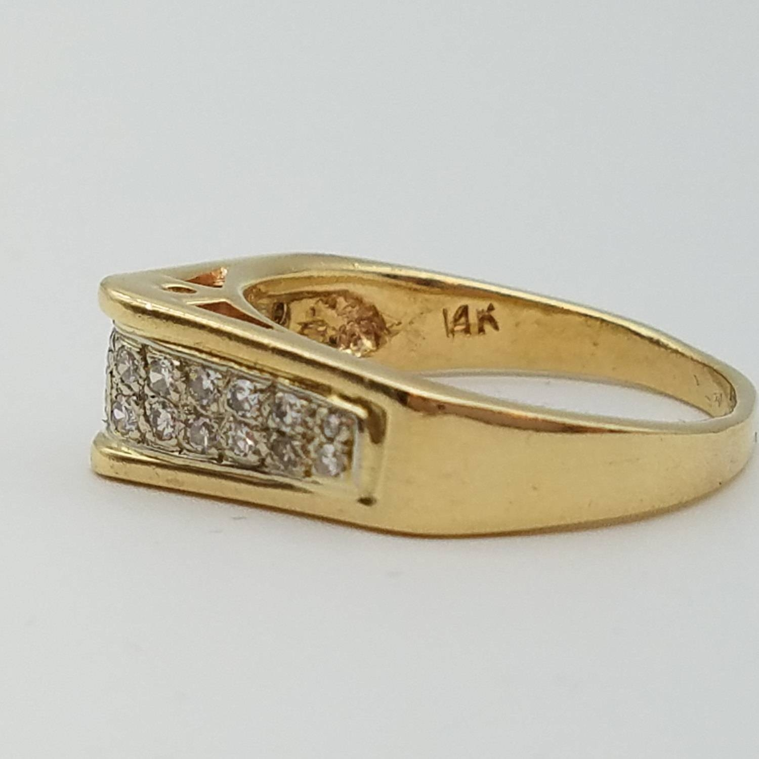 Vintage Diamond & 14K Gold Unisex Ring – Size (View 5 of 15)