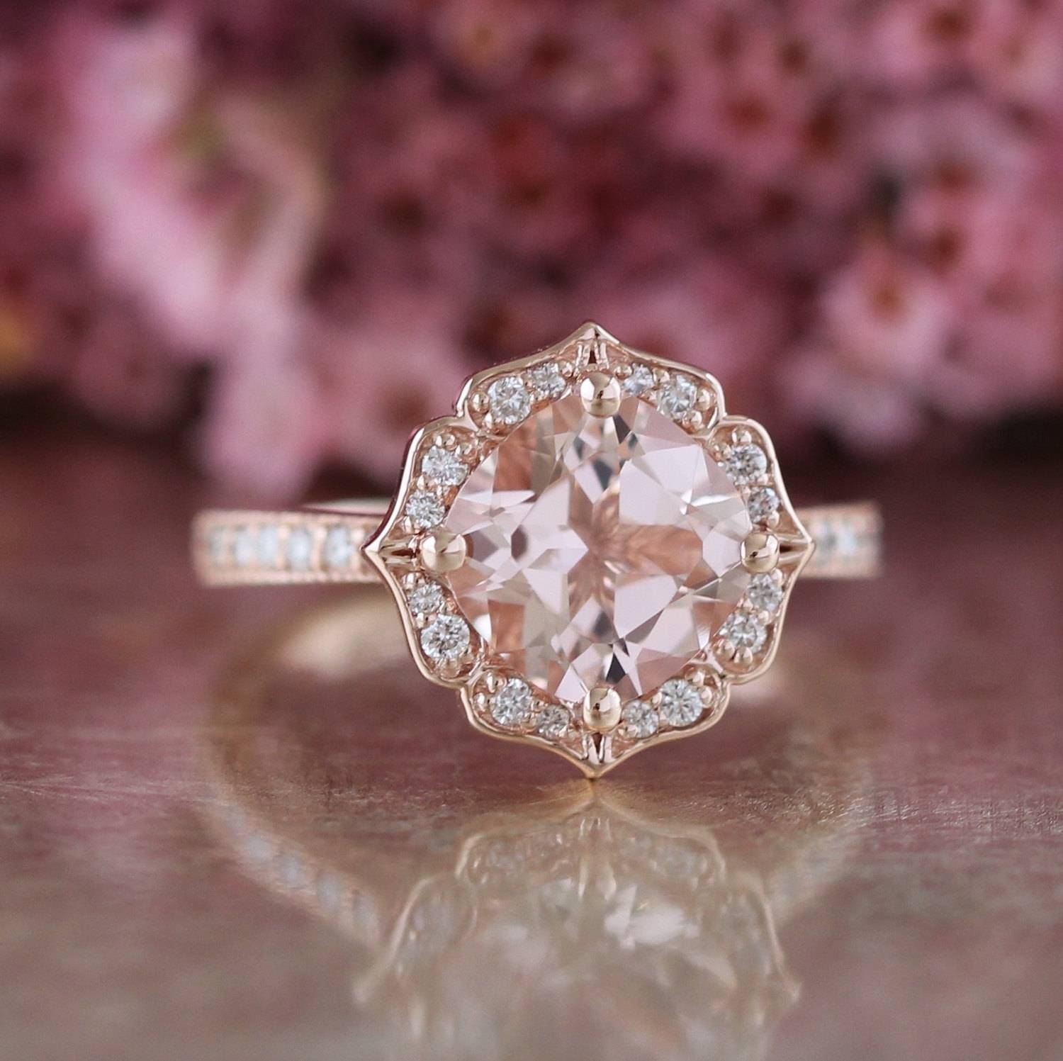 Vintage Floral Morganite Engagement Ring In 14K Rose Gold With Regard To Vintage Engagement Rings Northern Ireland (Gallery 4 of 15)