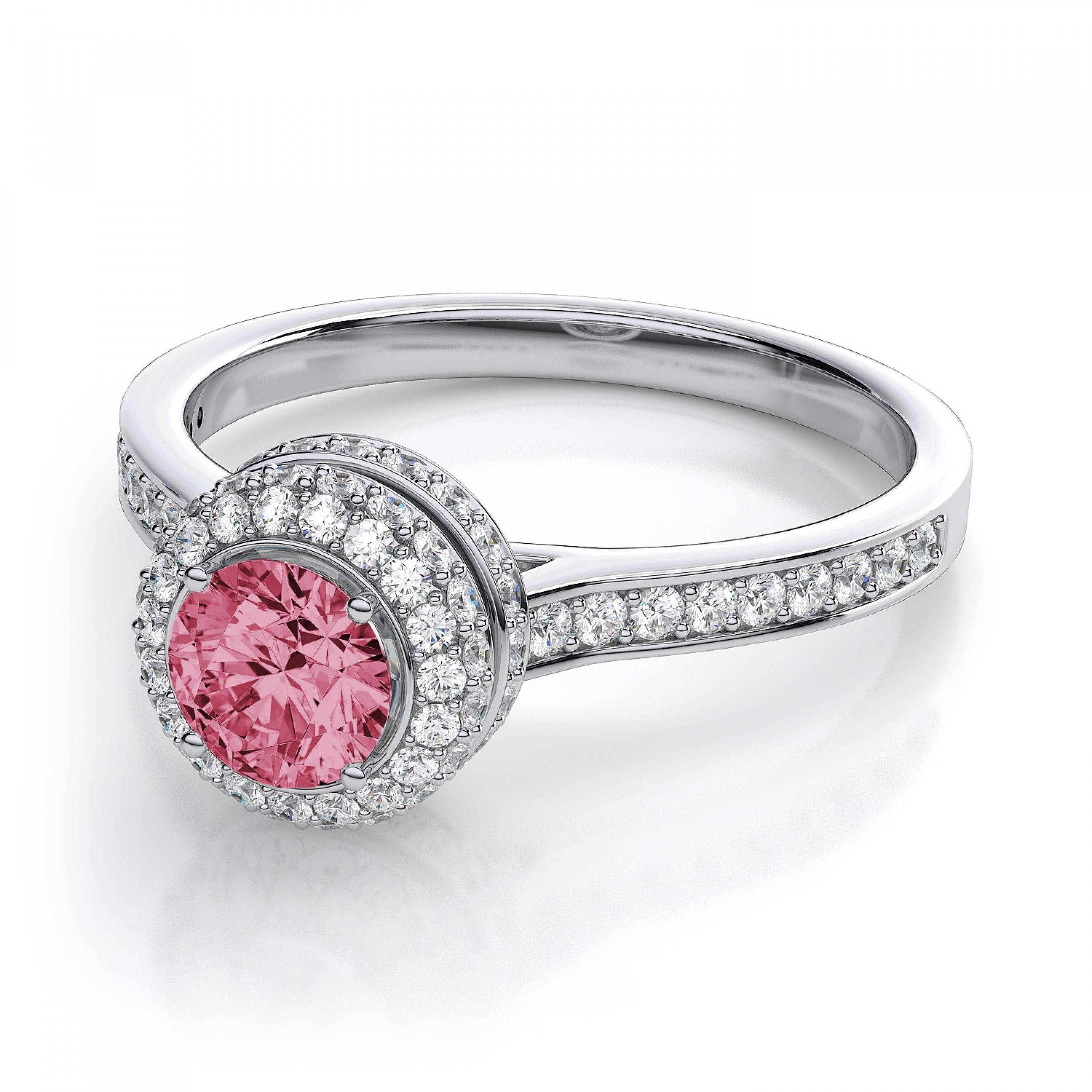 Vintage Halo Diamond And Pink Sapphire Engagement Ring In 18K Throughout Pink Sapphire Engagement Rings (Gallery 6 of 15)