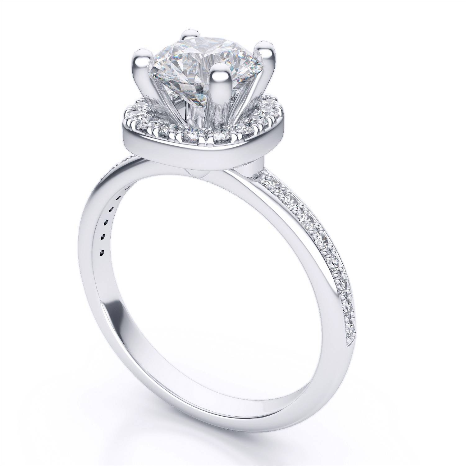 in round settings ring white engagement setting gold profile solitaire jewellery low diamond trellis