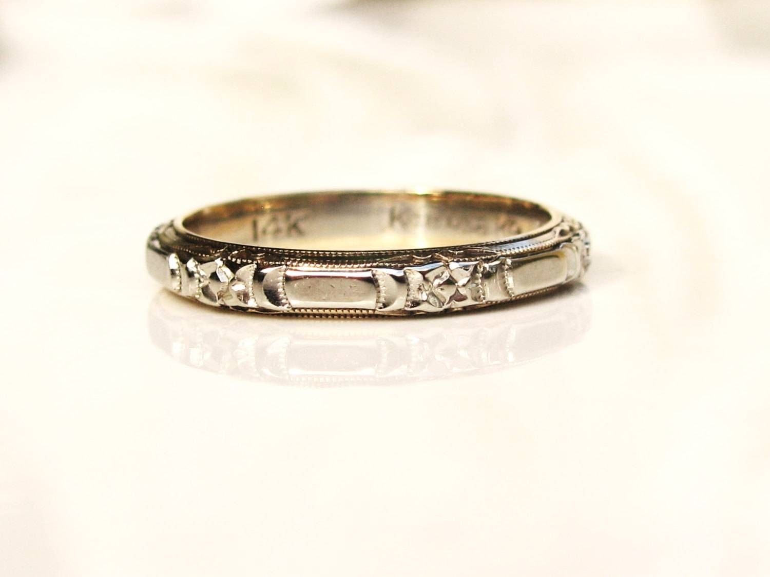 Vintage Keepsake Wedding Ring 14K White Gold Floral Design With Keepsake Wedding Bands (Gallery 15 of 15)