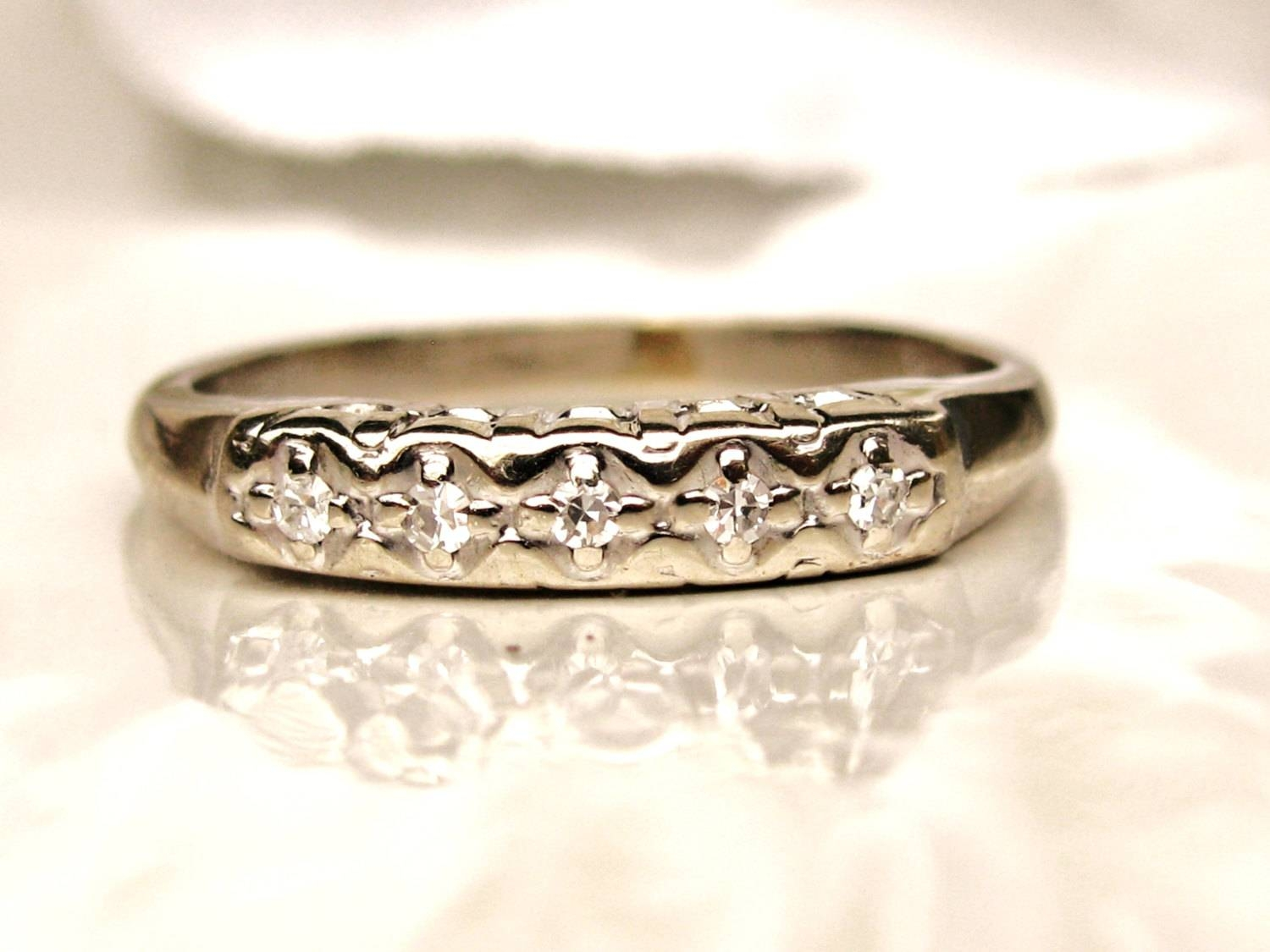 Vintage Keepsake Wedding Ring 14k White Gold Ladies Wedding Regarding Keepsake Wedding Bands (View 9 of 15)