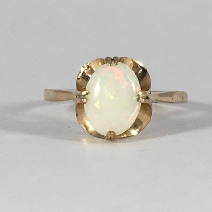 Vintage Opal Ring. Oval White Opal In 9K Yellow Gold (View 13 of 15)