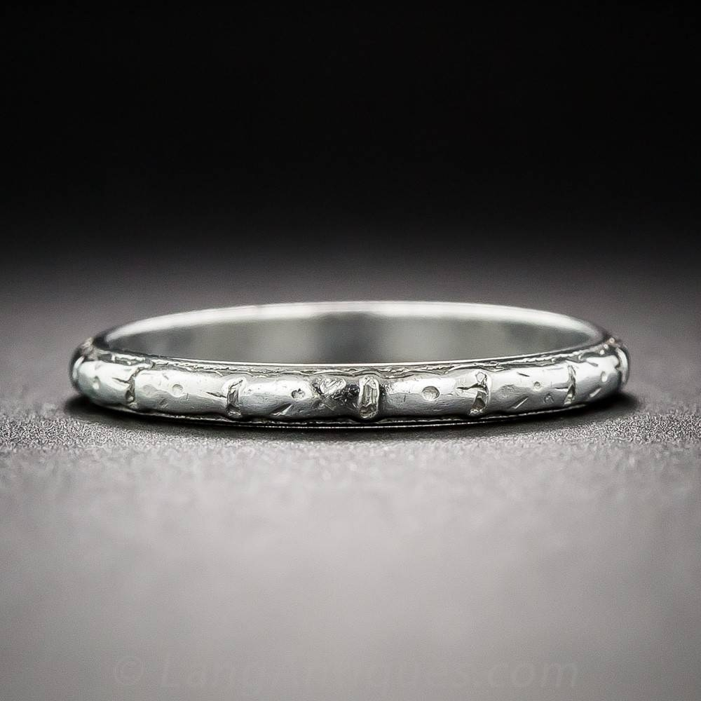 Vintage Orange Blossom Platinum Wedding Band With Regard To Orange Blossom Wedding Bands (View 15 of 15)