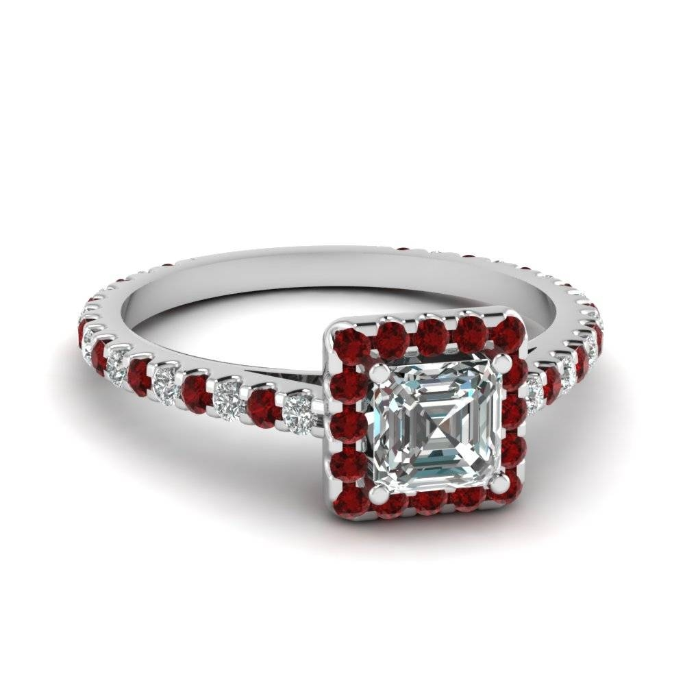 Vintage Princess Cut Diamond With Ruby Band In White Gold Regarding Princess Cut Ruby Engagement Rings (Gallery 9 of 15)