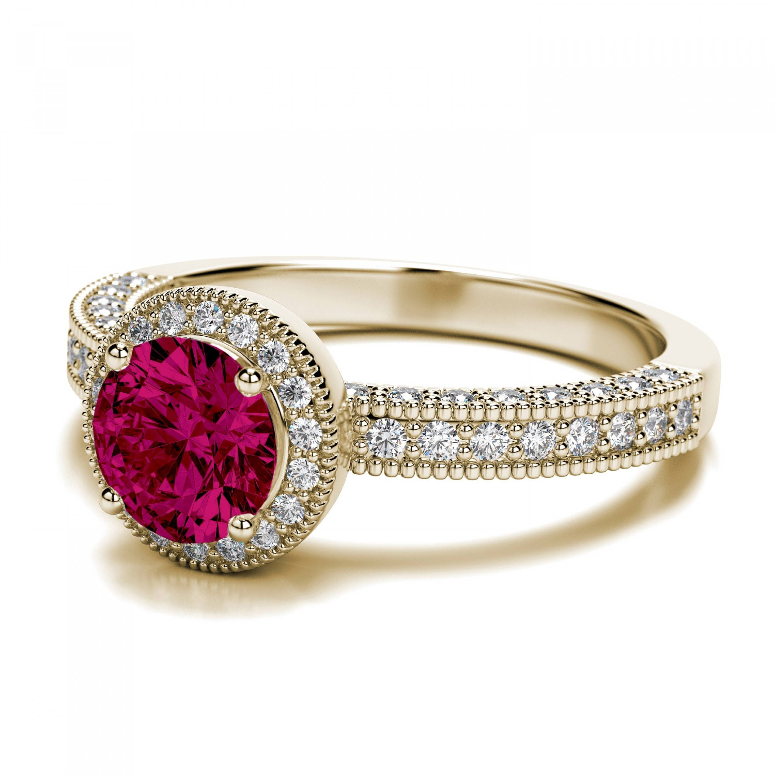 Vintage Round 1.50 Carat Ruby And Diamond Engagement Ring In 14K In Gold Ruby Engagement Rings (Gallery 4 of 15)