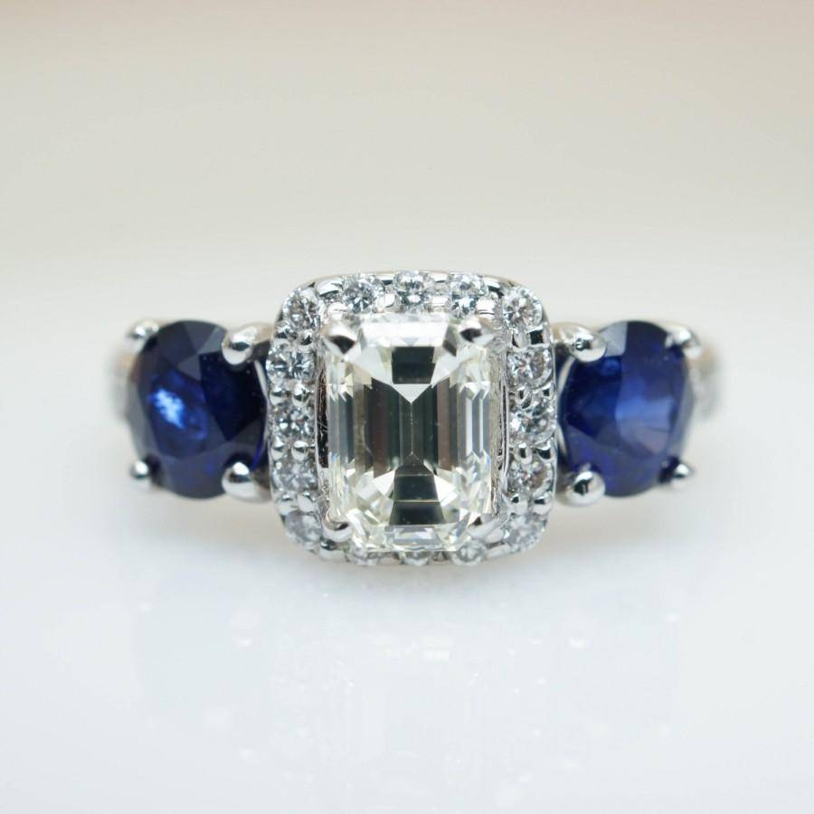 Vintage Sapphire Engagement Ring Oval Sapphire Emerald Cut Diamond Intended For Emerald And Sapphire Engagement Rings (View 15 of 15)