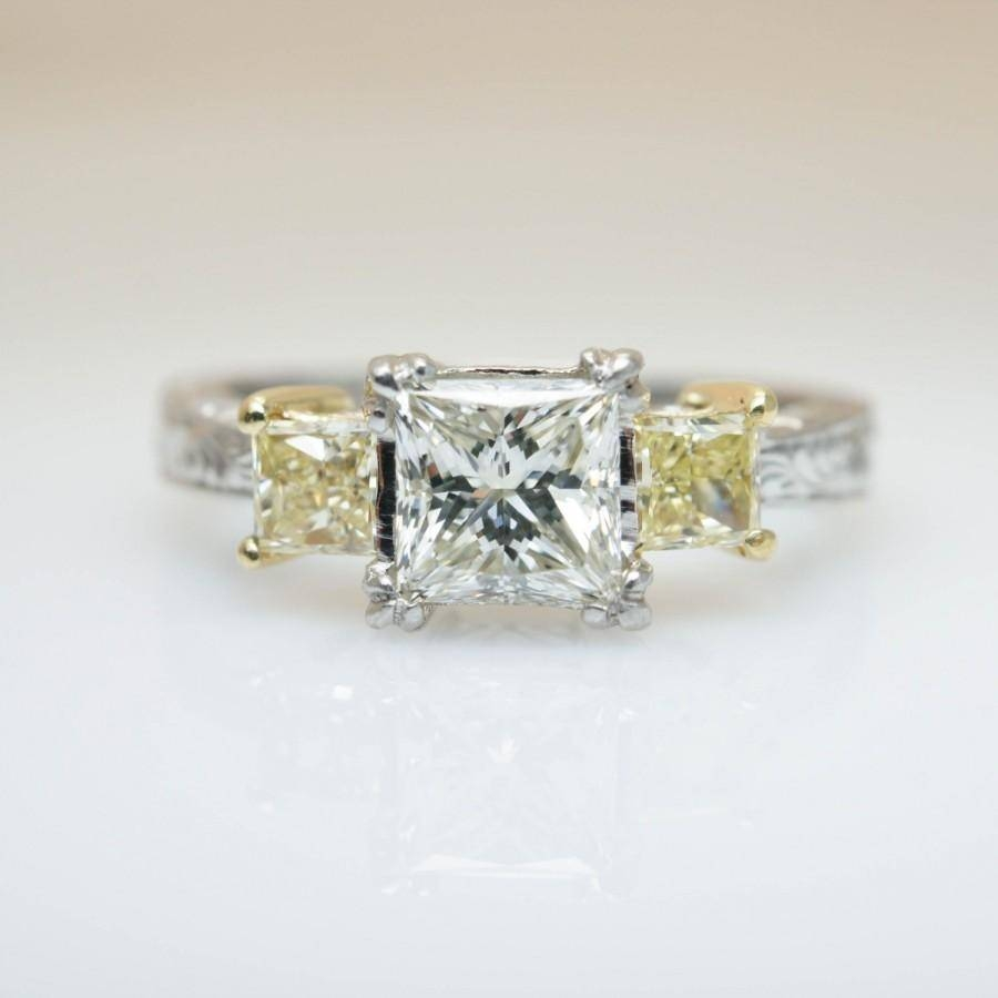 Vintage Tacori Engagement Platinum Princess Cut Diamond Three Inside Intricate Band Engagement Rings (View 14 of 15)