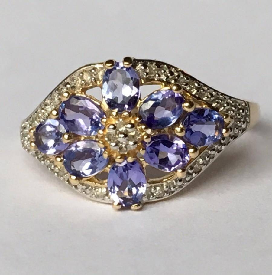 Vintage Tanzanite Ring. Diamond Accents. 14K Yellow Gold (View 11 of 15)