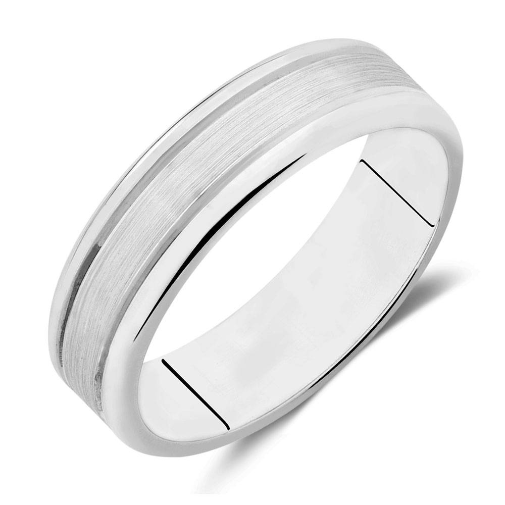 Wedding Band In 10ct White Gold Pertaining To White Gold Mens Wedding Rings (View 5 of 15)
