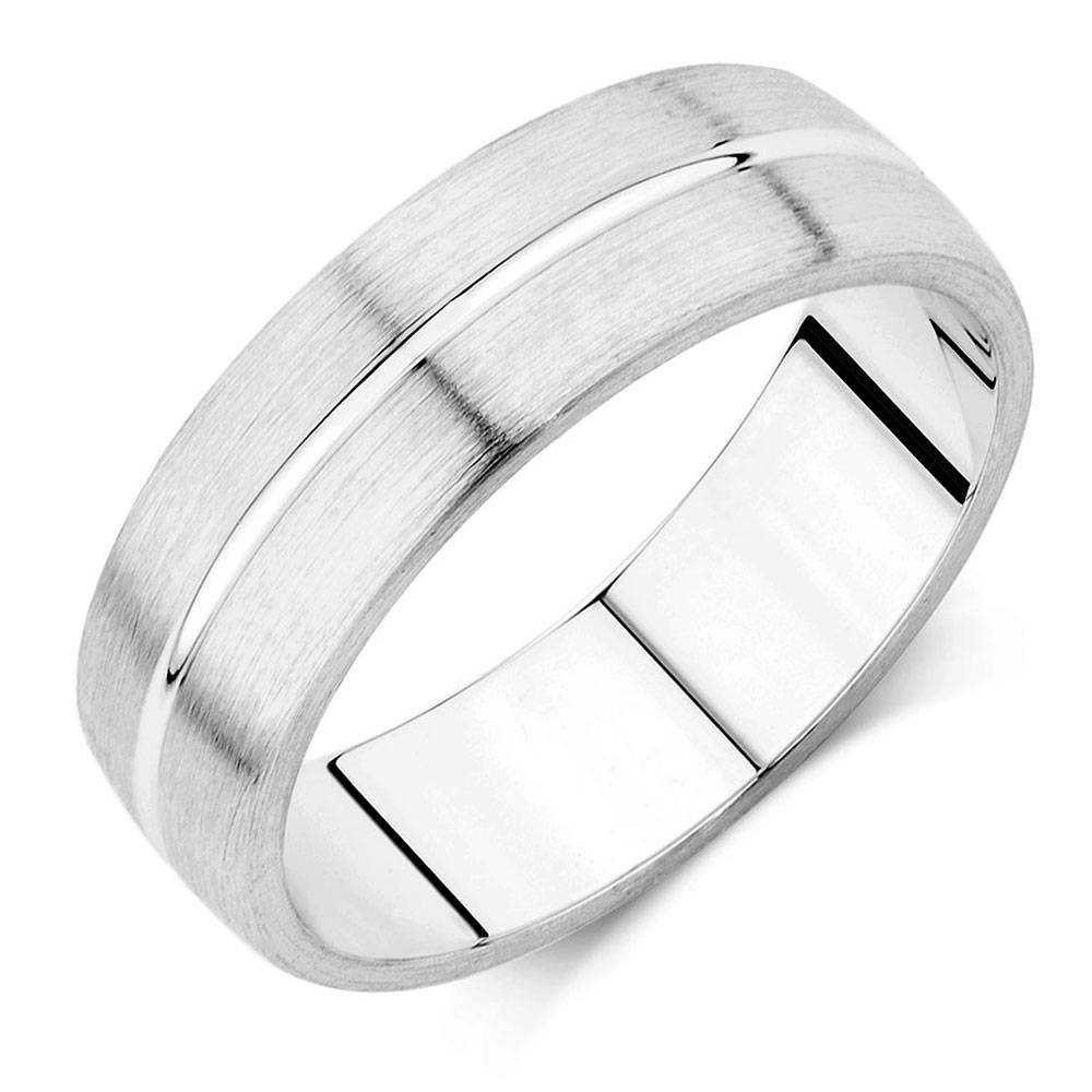 Wedding Band In 10Kt White Gold With Regard To Black And White Gold Men's Wedding Bands (View 13 of 15)