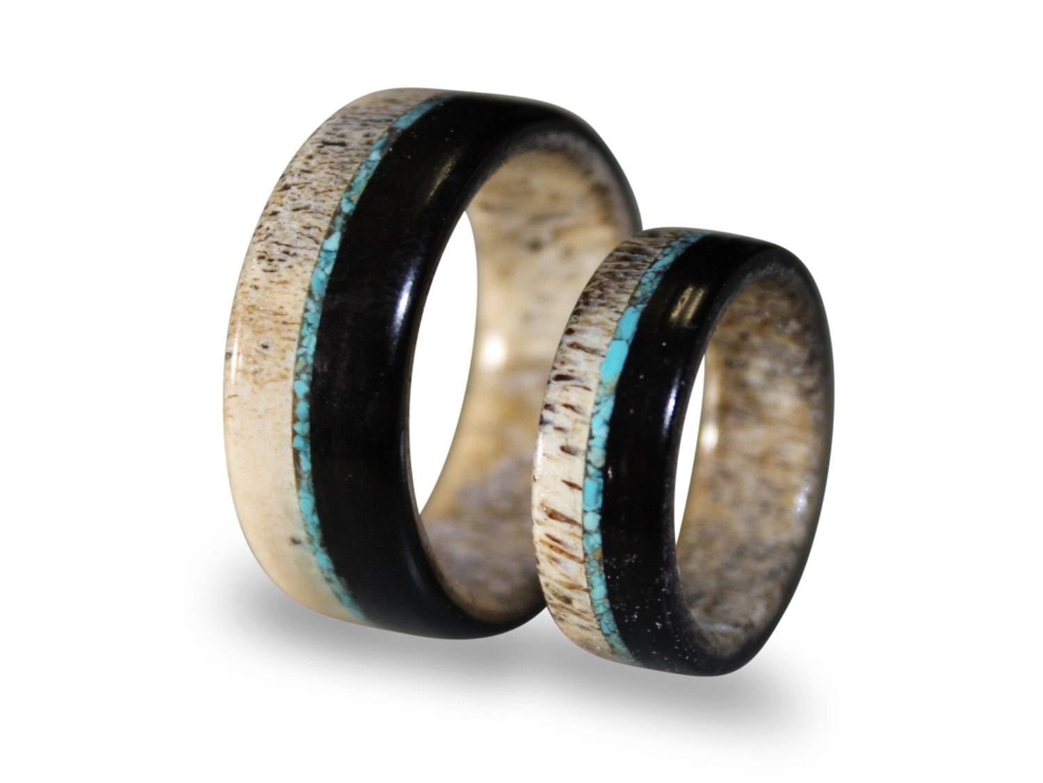 Wedding Band Set Deer Antler Ring Set With Ebony Wood And With Regard To Mens Wedding Bands With Deer Antlers (View 9 of 15)