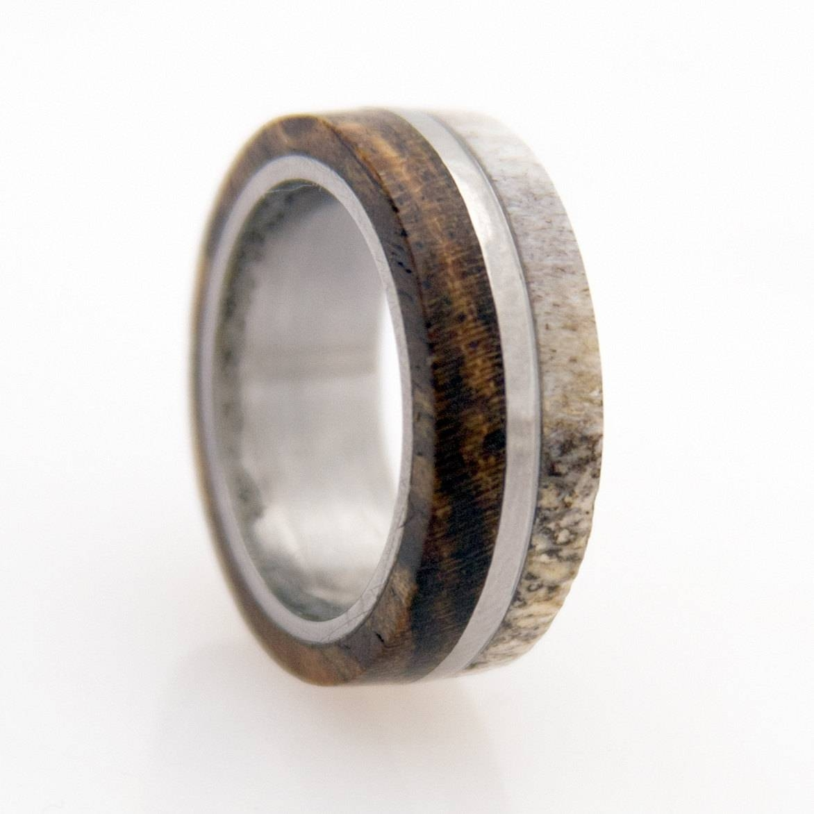 Wedding Band Titanium Wood Antler Mens Weddingaboutjewelry Intended For Men's Wood Grain Wedding Bands (View 12 of 15)