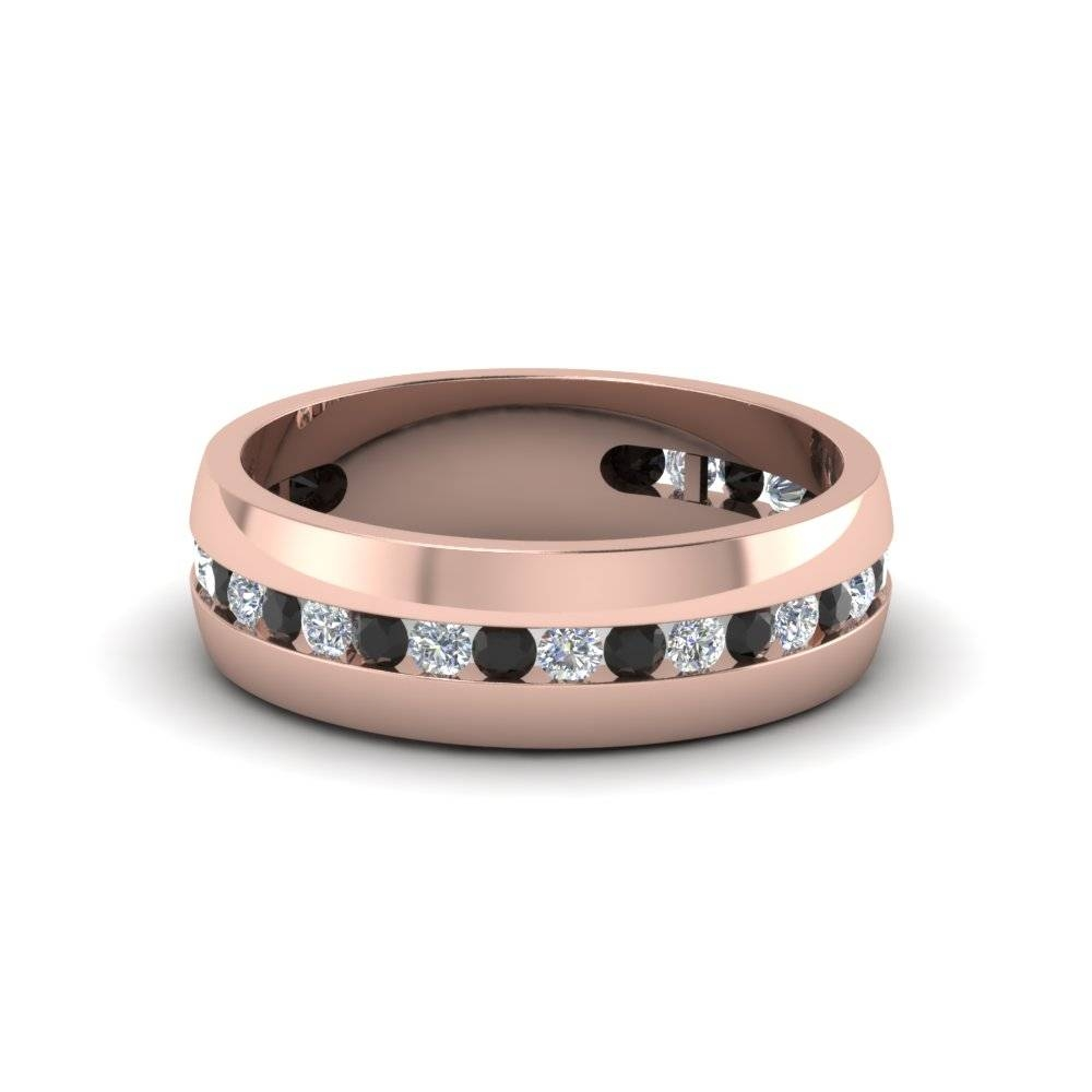 Wedding Band White Diamond With Black Diamond In 14K Rose Gold For Rose Gold Wedding Bands Sets (View 15 of 15)