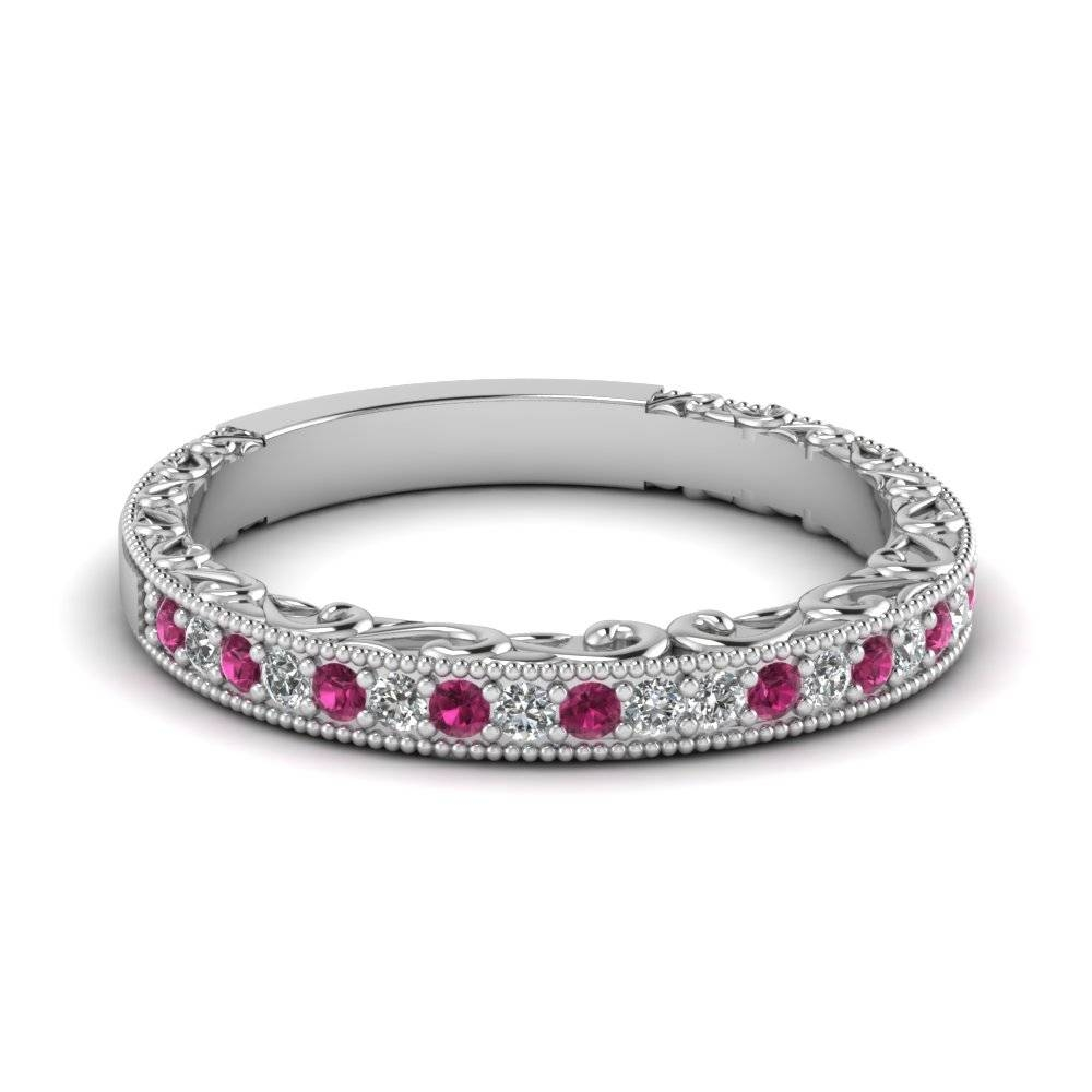 Wedding Band White Diamond With Dark Pink Sapphire In 14k White In Sapphire Wedding Rings (View 9 of 15)