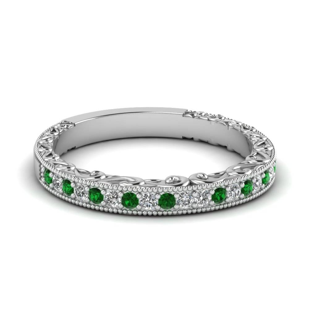 Wedding Band White Diamond With Green Emerald In 14K White Gold With Emerald Wedding Rings For Women (View 13 of 15)