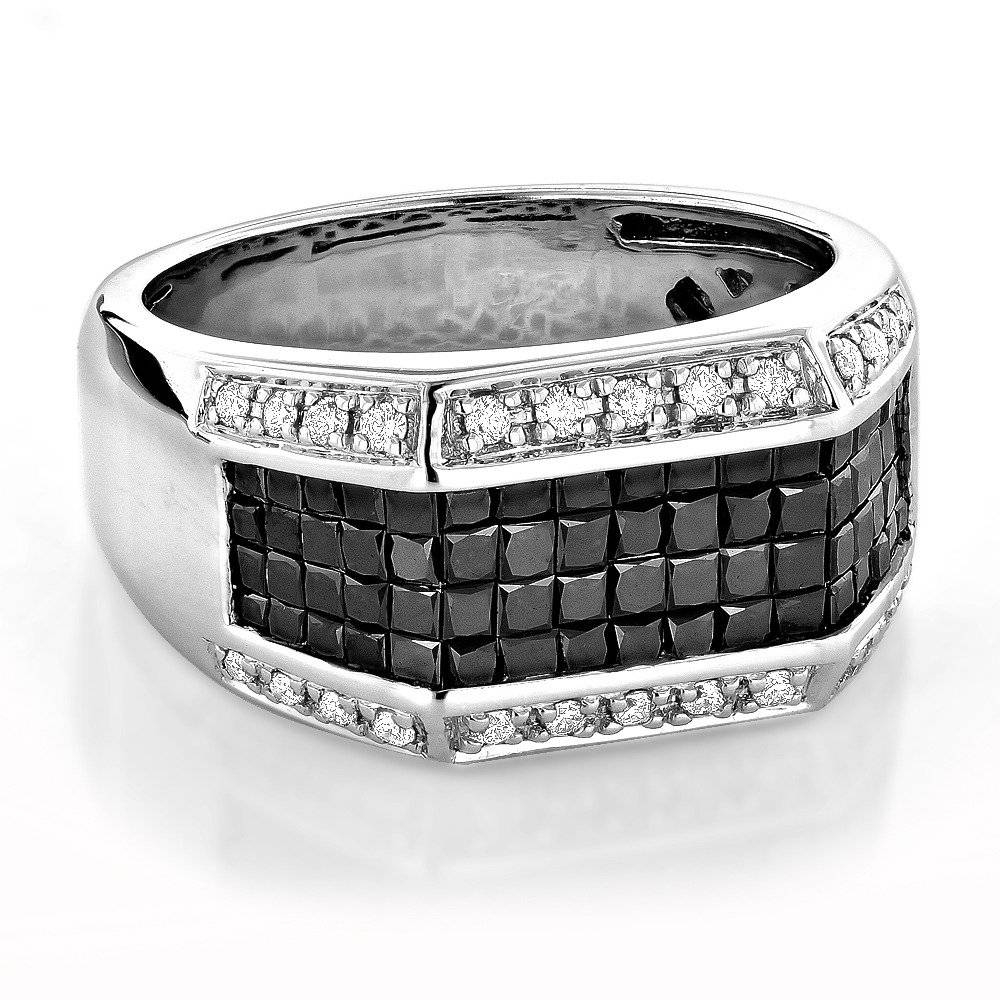 Wedding Bands 14K Gold Men's White And Black Diamond Ring 2.52Ct In Men's Black Wedding Bands With Diamonds (Gallery 11 of 15)
