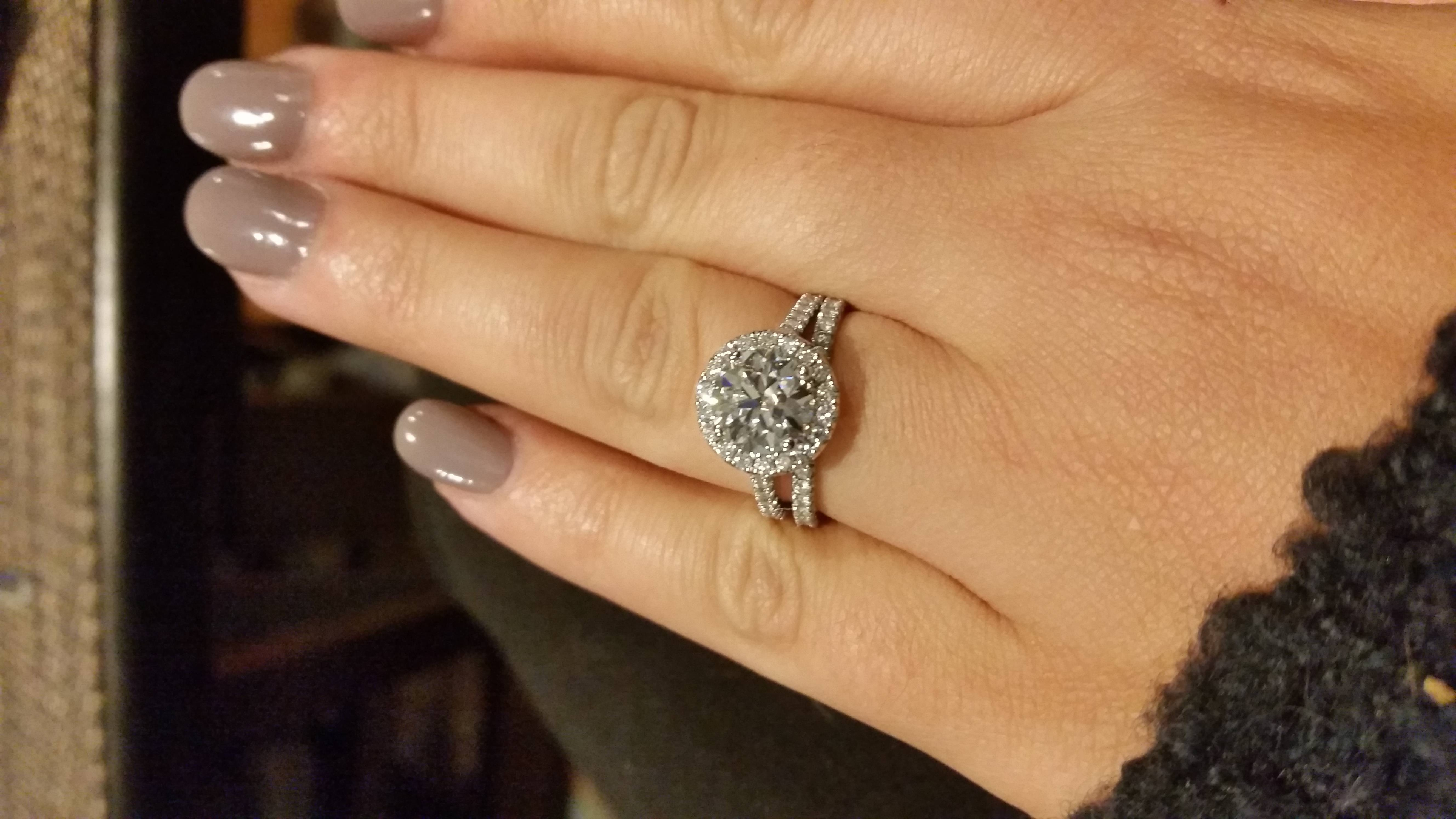 Wedding Bands For Halo Engagement Ring Mismatch Rings – Weddingbee With Regard To Wedding Bands That Fits Around Engagement Ring (View 14 of 15)