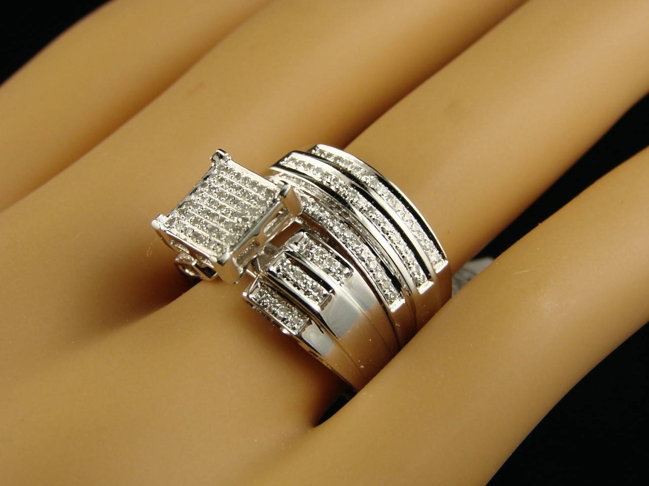 Wedding Diamonds & Gemstones : Ladies + Mens Wedding Band Inside Engagement Trio Sets (View 13 of 15)
