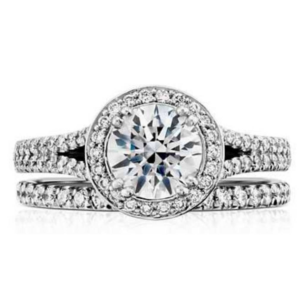 Wedding Ring For A Halo Engagement Ring; Wedding Band For Halo For Wedding Bands And Engagement Rings (View 9 of 15)