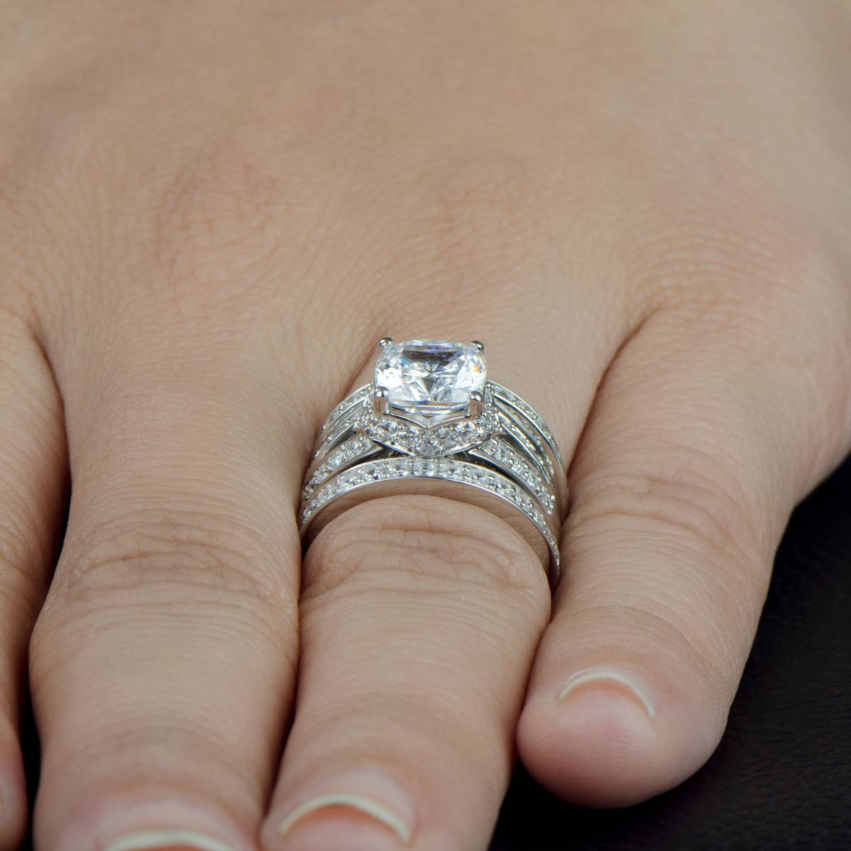Wedding Ring Set – Cushion Cut Cz Pertaining To Stretchy Wedding Bands (View 14 of 15)