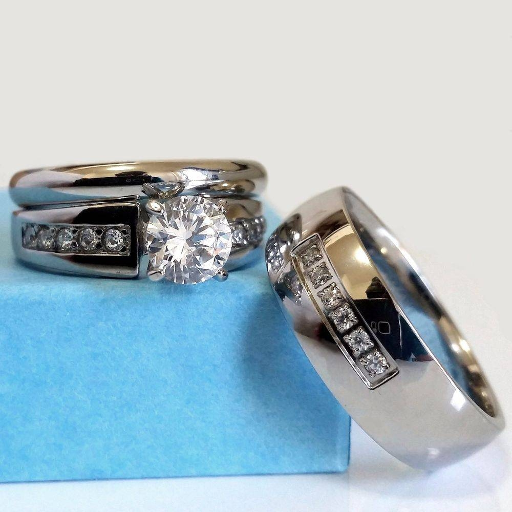 Wedding Ring Set His And Hers Match Bands Mens Womens Engagement Pertaining To Stainless Steel Wedding Bands For Her (View 12 of 15)