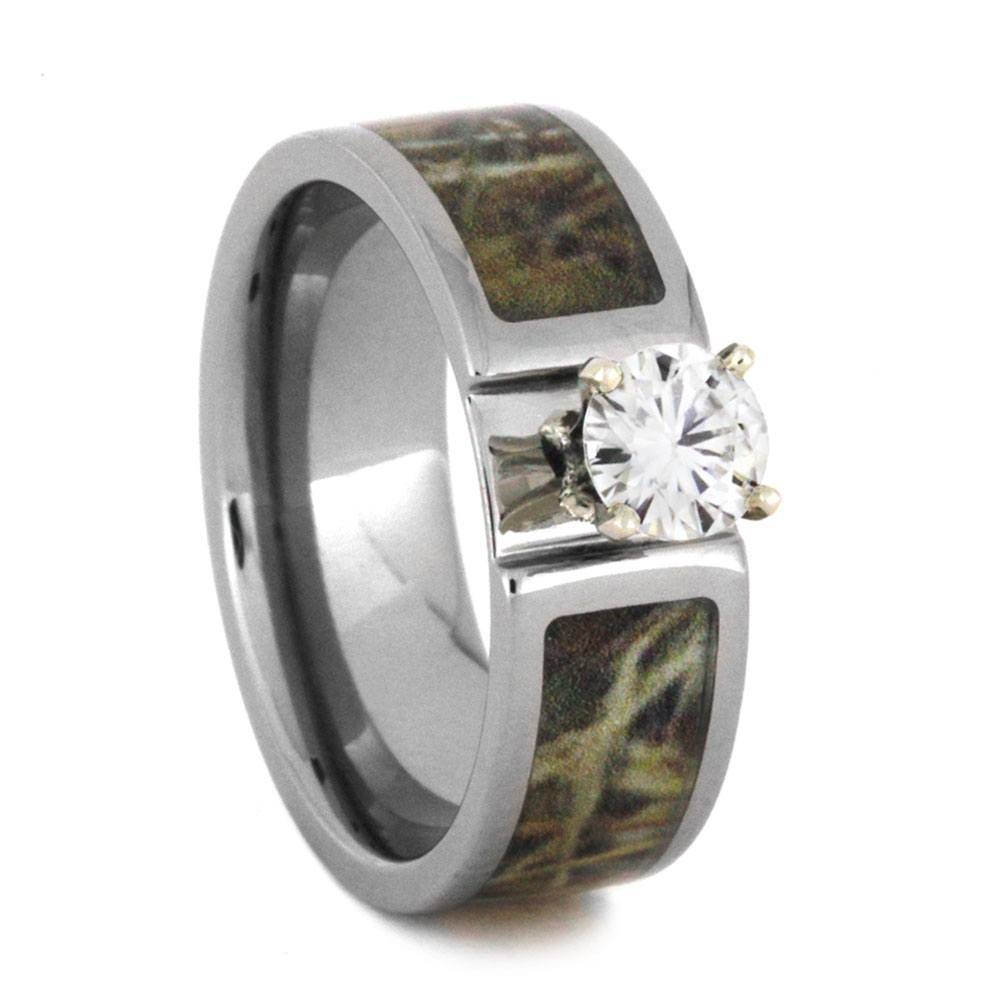 Wedding Ring Set With Moissanite And Deer Antler Rings 3436 For Titanium Camo Wedding Rings (View 13 of 15)