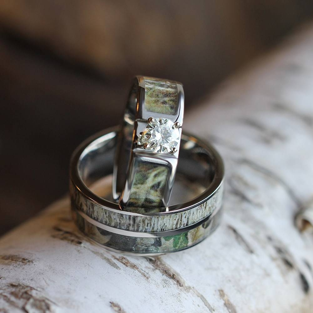 Wedding Ring Set With Moissanite And Deer Antler Rings 3436 Inside Antler Engagement Rings (View 14 of 15)