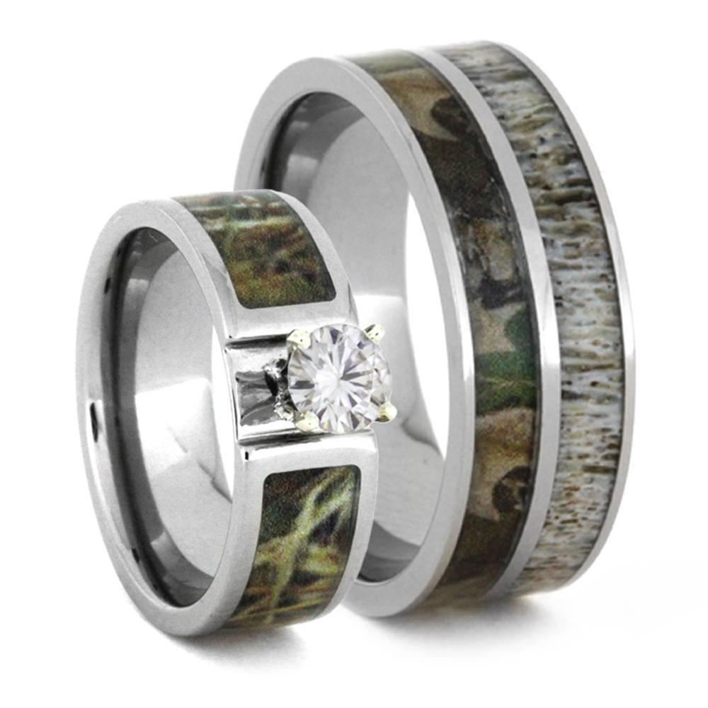 Wedding Ring Set With Moissanite And Deer Antler Rings 3436 Pertaining To Deer Antler Wedding Bands (View 10 of 15)